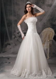 Dropped Waist A-line Strapless Wedding Dress Lace Hem