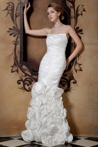Ruched Wedding Dress with Hand Made Flowers Mermaid Skirt