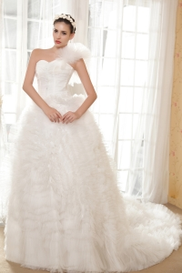 Detachable One Shoulder Sleeves Wedding Dress Ruched Ruffles