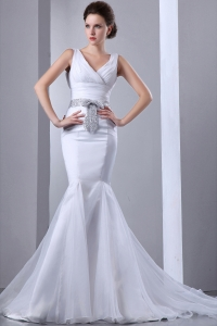 Mermaid V-neck Sequin Sash Bow Wedding Dress Court Train