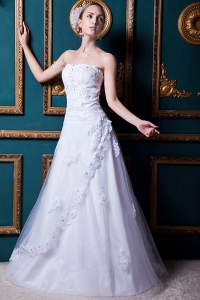 Formal A-line Tulle and Taffeta Appliques Wedding Dress