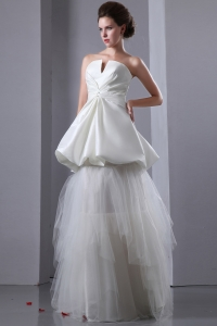 A-line Strapless Taffeta and Tulle Two-layers Wedding Dress