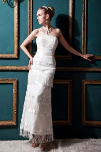 Column Tea-length Special Fabric Lace Wedding Dress Layered