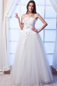 A-line Strapless Beaded Hand Made Flowers Wedding Dress