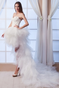 Sweetheart Feather Bodice High-low Wedding Dress Tulle Ruffles