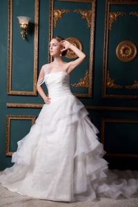 Organza Ruch Wedding Dress with Ruffled Layers Court Train