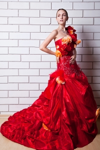 Red One Shoulder Wedding Dress Orange Flowers Brush Train