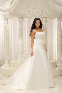 Cap Sleeves Sweetheart A-Line Wedding Dress for Anniversary