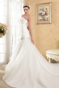 Ruched Mermaid Sequins Wedding Dress Cathedral Train