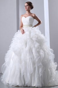 Ruched Bodice Beaded Waist Ruffled Ball Gown Wedding Dress