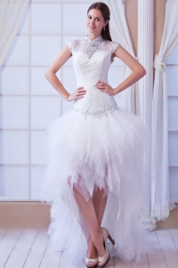 High-Low High-neck Wedding Dress Peekaboo Keyhole Ruffles