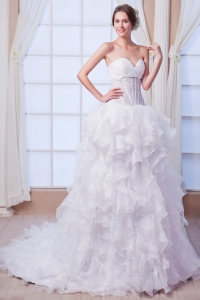 Sweetheart Transparent Corset Wedding Dress Organza Ruffles