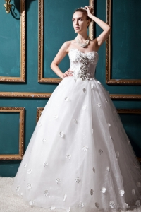 Sweetheart Corset Bridal Gown with Flower Appliques Rhinestones