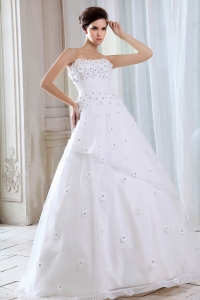 Brand New A-line Strapless Wedding Dress with Flower Appliques