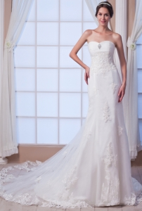 Trumpet Sweetheart Court Train Lace Beading Wedding Dress