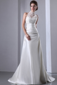Custom Made Lace Hatered High-neck Wedding Dress Ruches