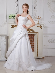 Gorgeous A-line Straps Court Train Lace Wedding Dress
