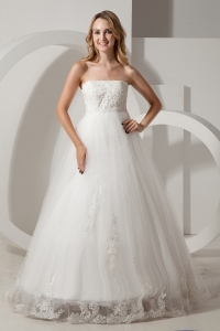 A-line Brush Train Taffeta and Tulle Appliques Wedding Dress