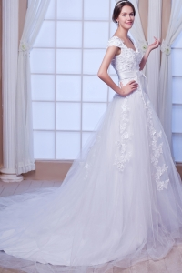Cap Sleeves Low Back Square Floral Bridal Gown with Bow