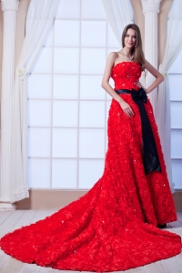 Special Embossed Fabric in Red Watteau Train Wedding Dress