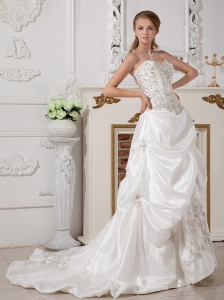 Sweetheart Wedding Gown with Floral Embroidery and Pick-ups