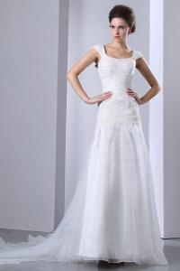 Square Cap Sleeves Maternity Wedding Dress Watteau Train