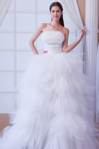 Romantic Ruffled Tulle Beading Wedding Dress Brush Train