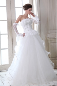 Princess Corset Beaded Lace Wedding Dress with Peplums
