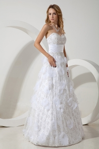 Empire Sweetheart Wedding Dress with Special Fabric Beaded