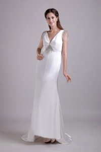 Draped Back Tulle Cap Sleeves Wedding Dress with Jewelry