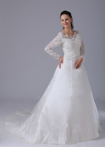 V-neck Long Sleeves Lace Court Train Wedding Dress