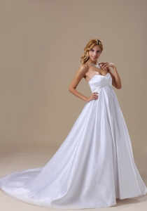 Satin Sweetheart Brush Train Wedding Dress