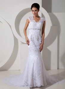 Mermaid Beaded Lace Wedding Dress with Peekaboo Keyhole