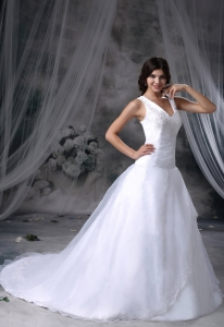 Appliques V-neck Brush Train Wedding Dress