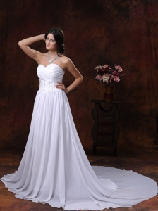 Appliques Sweetheart Court Train Chiffon Wedding Dress