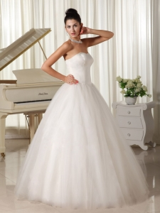 Sweetheart Strapless Tulle Ball Gown Wedding Dress