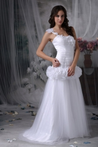 One Shoulder Hand Made Flowers Brush Train Wedding Dress