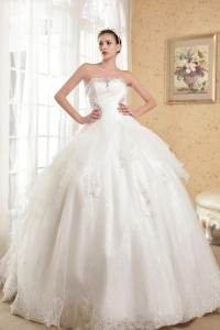 Appliques With Beading Strapless Cathedral Train Wedding Dress