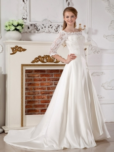Off The Shoulder Lace Sleeves Satin Wedding Dress
