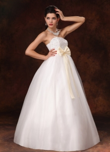 Champagne Bowknot A-Line White Wedding Dress Beading
