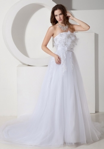 Wedding Dress Embroidery Belt Strapless Tulle Chapel Train