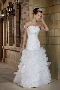 Sweetheart Beading and Ruffles Floor Length Wedding Dress
