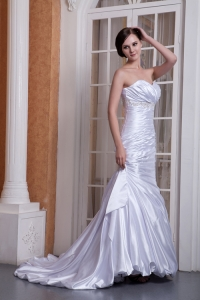 Asymmetric Ruched Taffeta Mermaid Wedding Dress Appliques
