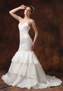 Straps Lace Layers Mermaid Wedding Dress