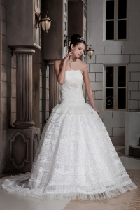 Beading Strapless Brush Train Wedding Dress