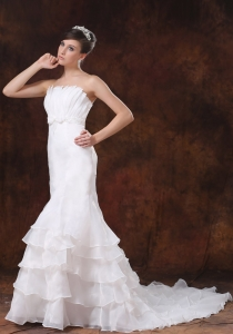 Mermaid Strapless Ruffled Layers Wedding Dress