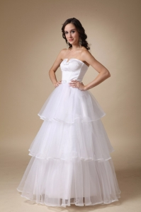 Layers Strapless Floor-length Organza Wedding Dress