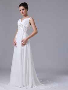 Chiffon Beading V-Neck Court Train Wedding Dress