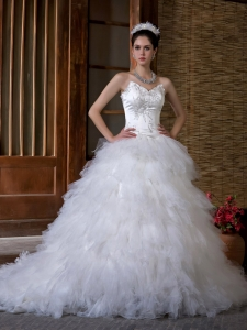 Ball Gown V-neck Appliques Tulle Layers Wedding Dress