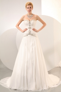 Beading Sweetheart Chapel Train Wedding Dress